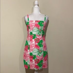 Lilly Pulitzer Pink & Green Square Neck Tank Dress